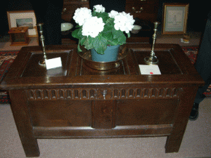 I would love to store my blankets in this amazing 1680 Charles II oak coffer from Running Battle Antiques in Newagen, ME. Alas, it was already sold at the pre-party.
