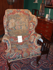 You can't exactly flop down on this 1710 Queen Anne wing chair from George Subkoff Antiques, but what a statement piece.