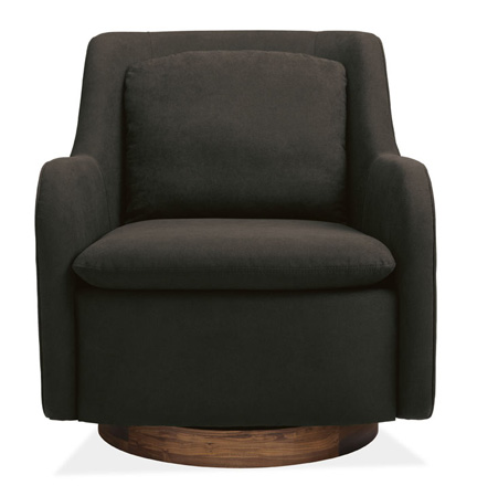 I could SO sink into this Hazel swivel chair in our TV room. I especially love the detailing of the wood base.