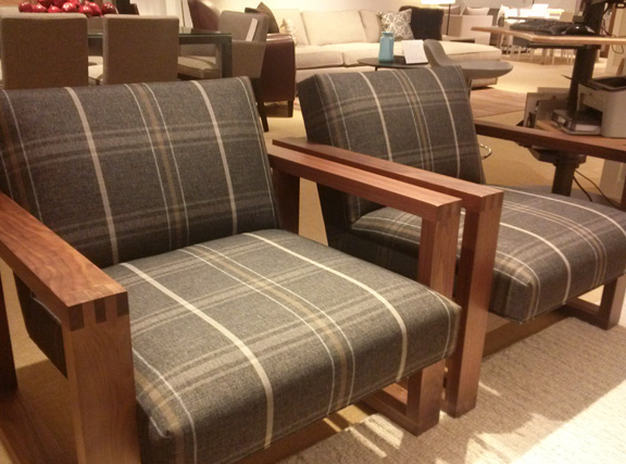 I adore this upholstery against the dark wood frames, like men's suiting.