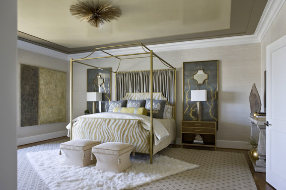 Custom iron bed by Mike Reid Weeks; Headboard and footboard by Pierre Frey; cube ottomans by Baker; Grand Nest chandy through Kerson Antiques in New York on 1st Dibs; rug by Patterson Flynn & Martin; flokati accent rug by Serena & Lily
