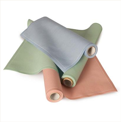 Pastel cotton napkins -- apparently you can tear them off like paper towels, wash and reuse them up to six times. Makes me bitter than I only had the plain white burp clothes.