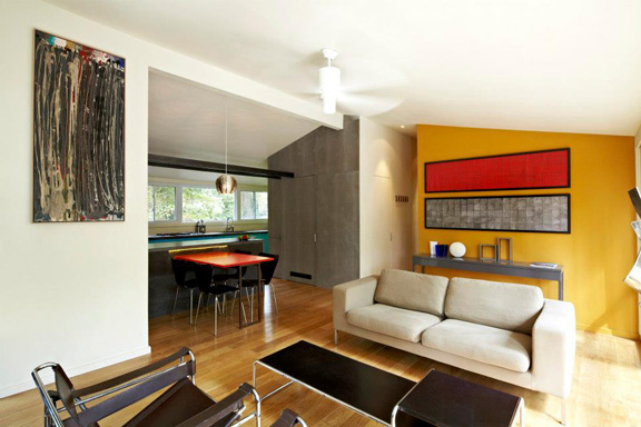 The living room. Much of what Janet achieved involved a re-thinking of materials and color.