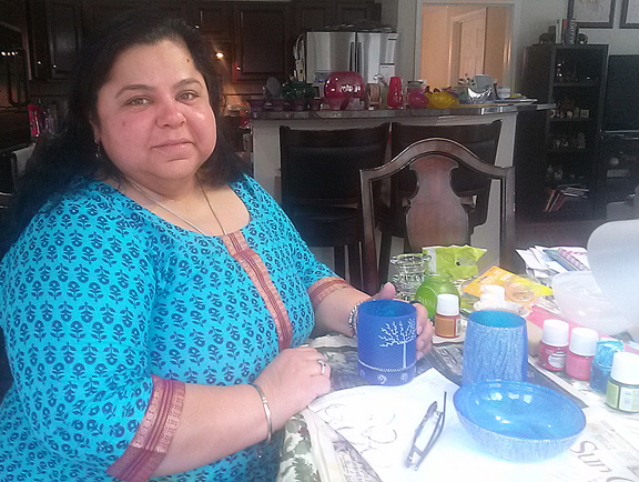 Anjali Sunderam at her kitchen-table workshop in McLean