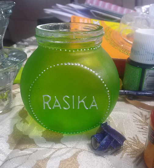 Her commissions include spice jars for Rasika.