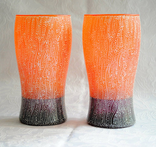She did these vases as a graduation gift to a Virginia Tech student.