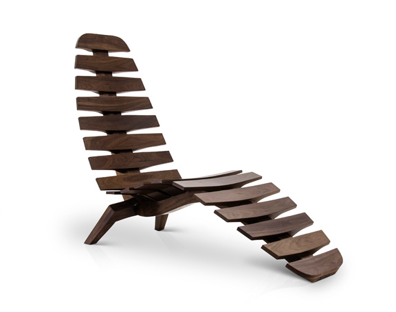 The Sternum Chaise in burnished walnut