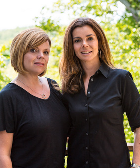 Kelcey Huff, left, and Tracy Schlegel of Waterlily Interiors in Bethesda