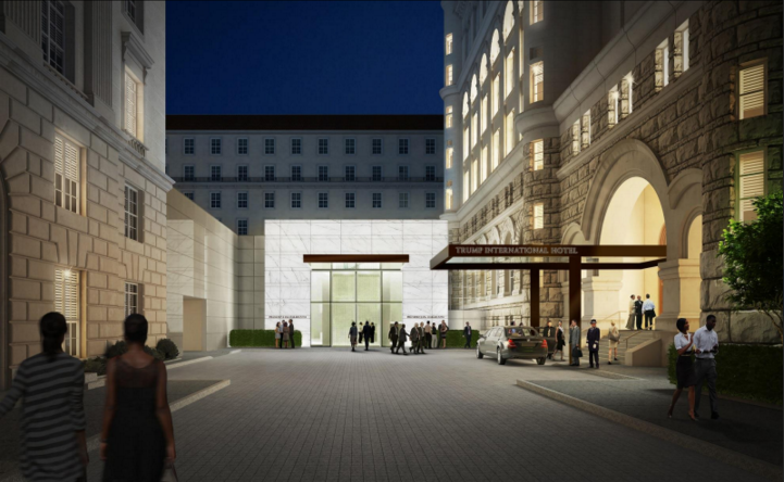 The front entrance. Renderings courtesy of the Trump Hotel Collection.