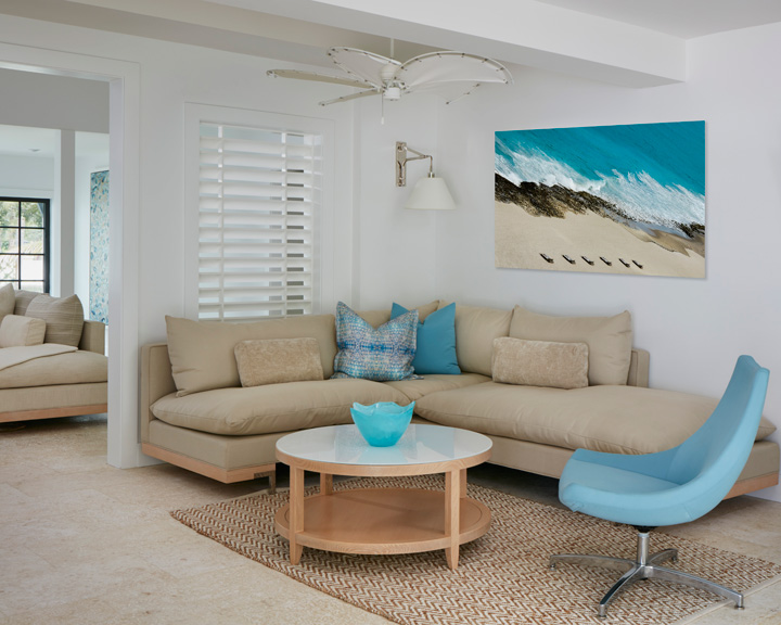The family room furniture is all by David Edward. The artwork is by Carmel Brantley.