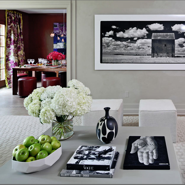 A large photograph by Maxwell MacKenzie stretches over the living room's rear wall. Max is married to Rebecca Cross, whose Cross-MacKenzie art gallery is in Georgetown.