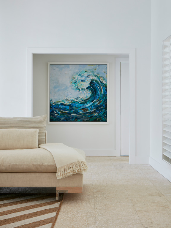 Erin did an incredible job with all the coastal-inspired artwork, which veers modern instead of cutesy.