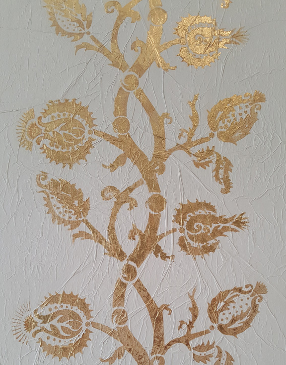 Golden Thistle Vines: gold leaf on tissue