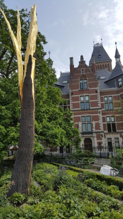 A tree sculpture outside the famous Rijks Museum