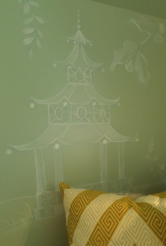 "Hand-painted Chinoiserie in the ""Chic Retreat"" by Barbara Brown Interiors"