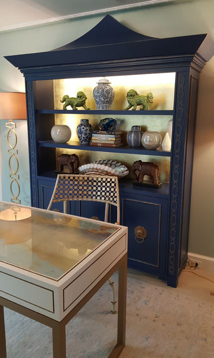 Barbara designed the armoire and desk that set the tone in her retreat.