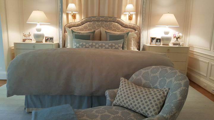 The master bedroom by Victoria Sanchez. The chaise in the foreground was a chance find at Brimfield, and Victoria designed the upholstery, which is also on the headboard. The pillow is hand-beaded.