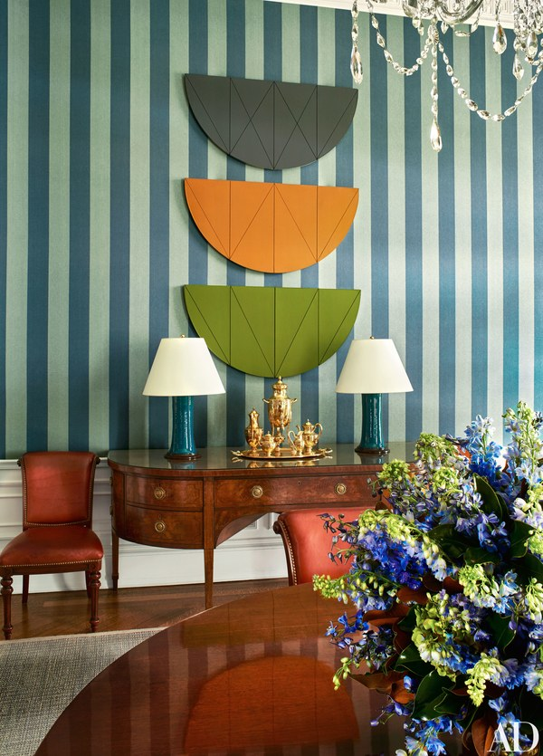 This is my favorite shot: Late-1960s works by Robert Mangold over Smith's own Jasper fabric wallcovering in the Family Dining room.