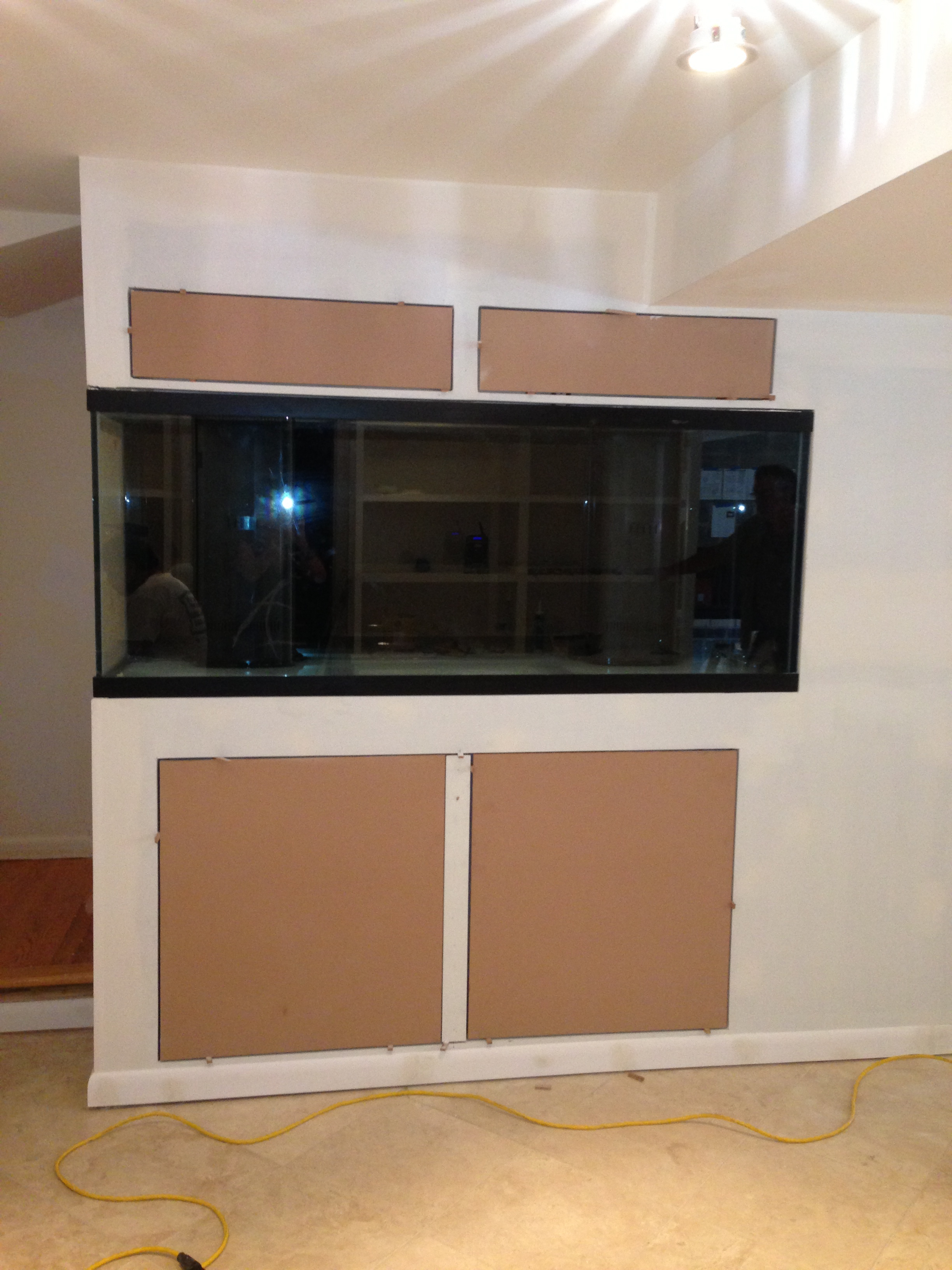 Shot of aquarium and cabinets under construction