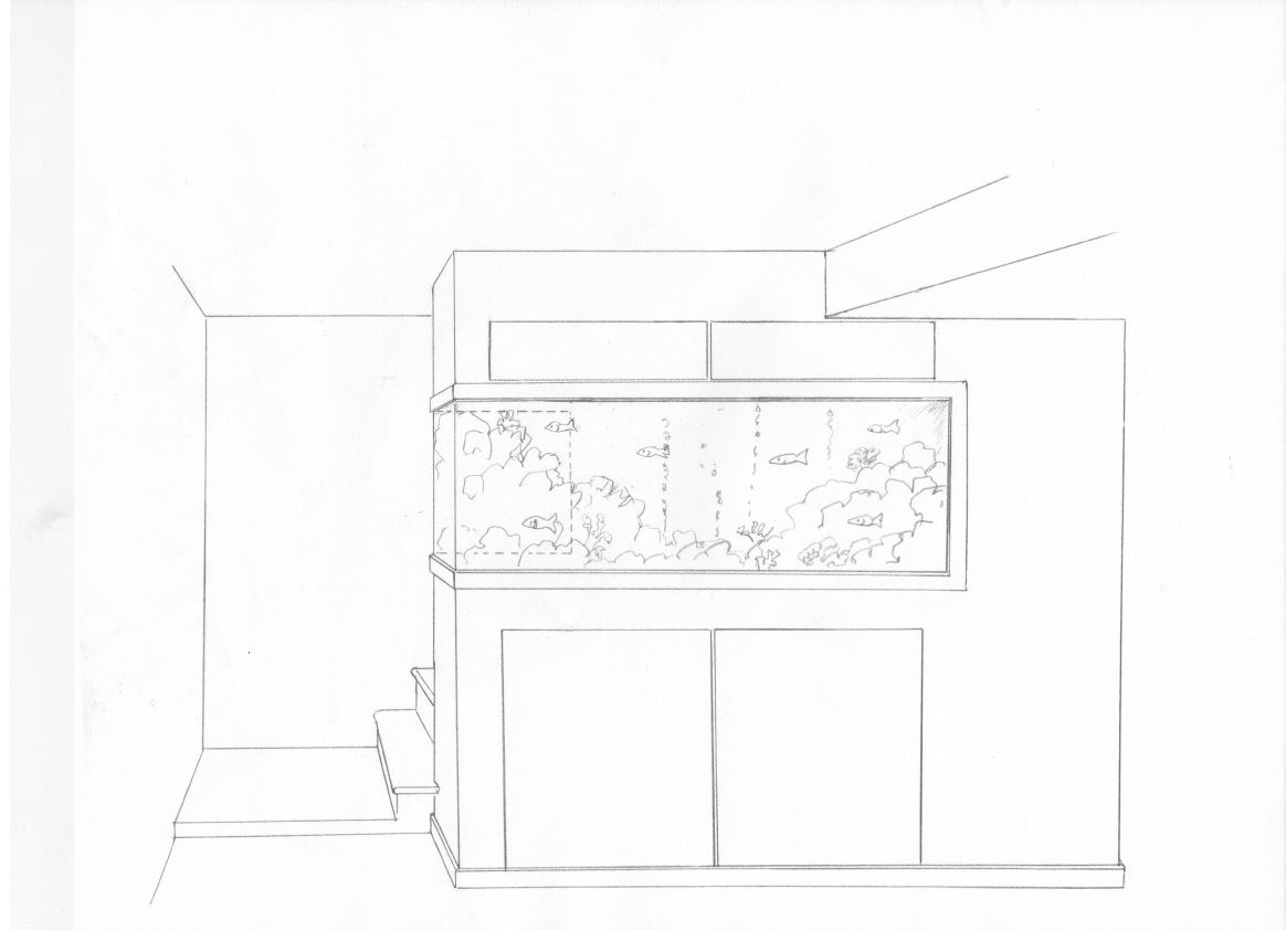 Design rendering of aquarium wall and cabinets