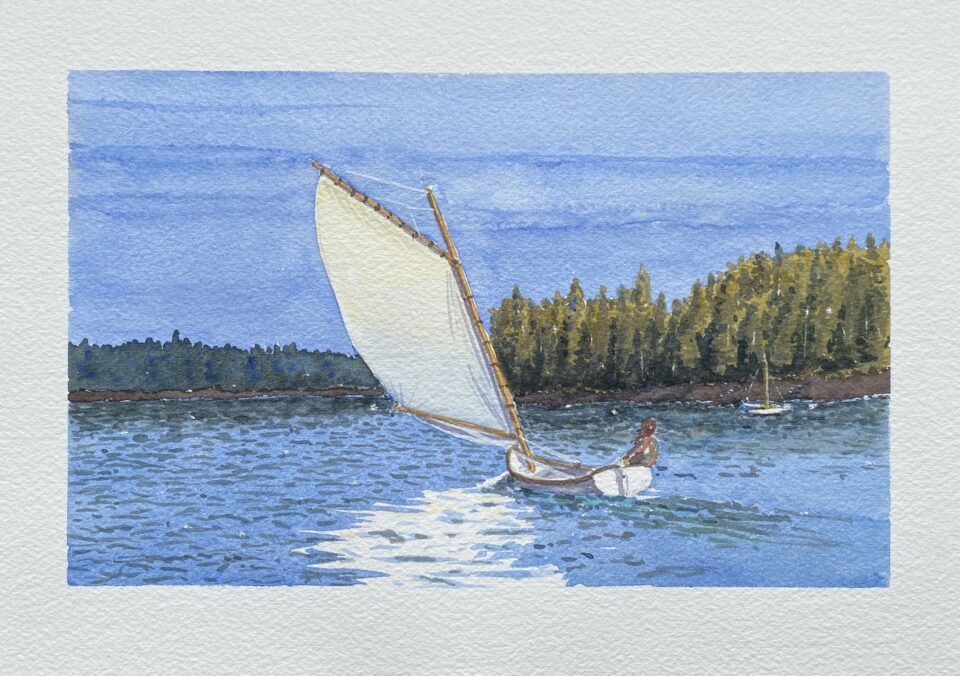 A sailboat gliding through the water in North Haven, Maine. Watercolor painting by Ankie Barnes, BarnesVanze Architects, for the Whisky Watercolor Club