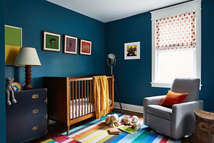 Dark blue baby nursery by Byron Risdon, Washington DC