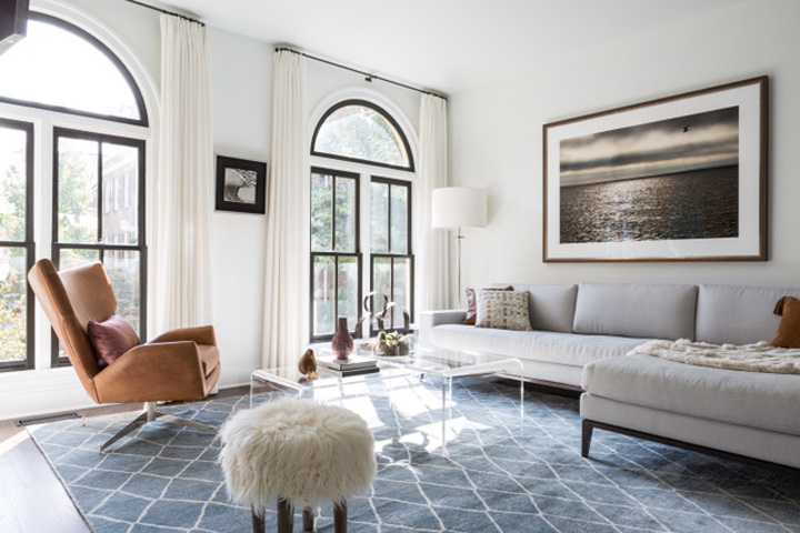 Calm neutral family room by Celia Welch Interiors