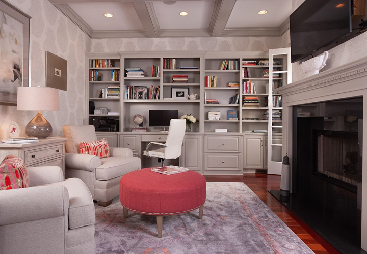 Feminine home office with grays and pink by Monique Holland, Holland Custom Designs and Decorating Den Interiors, Oxon Hill MD