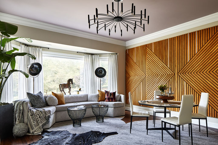 Lounge by Studio Q Designs in the Ellicott City Designer Showhouse