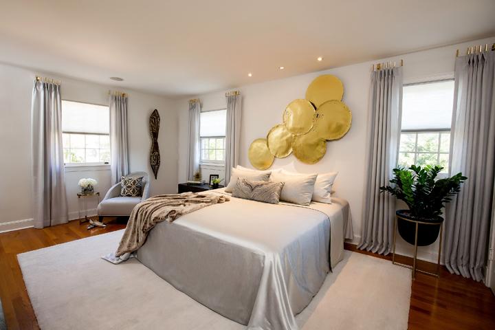Contemporary feminine master bedroom by Sheryl Scruggs, Bronze Interiors