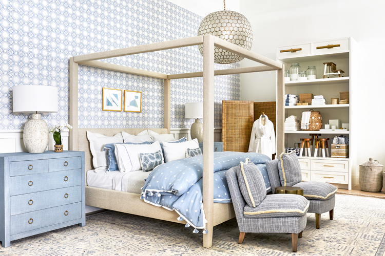 Bedroom decor, furniture with bath accessories at Serena & Lily in Bethesda, Maryland.