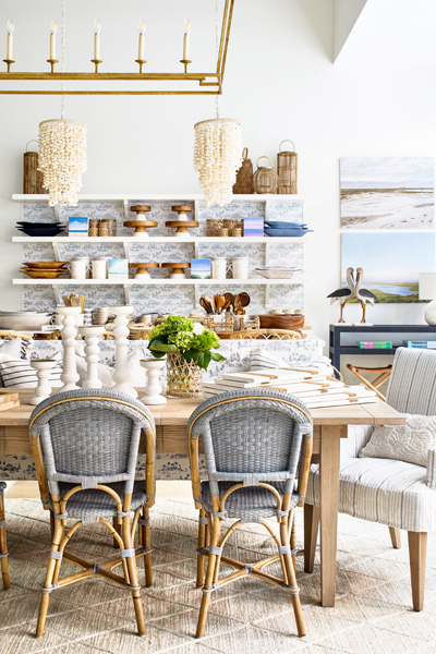 Accessories, lighting, dining room furniture at Serena & Lily in Bethesda, Maryland