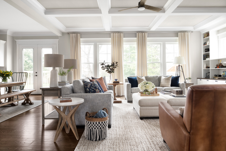 Contemporary family room with coffered ceiling by Duvall Reynolds, Fairfax VA