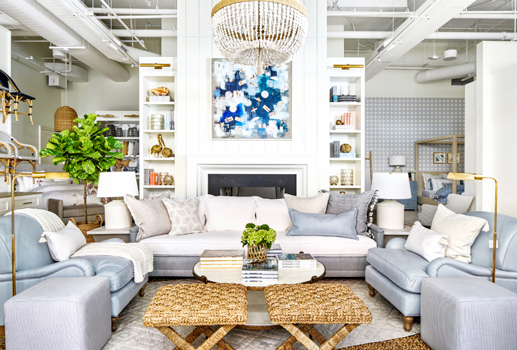 Living-room sofa, armchairs, X-benches at Serena & Lily in Bethesda, Maryland; Theresa Losa painting