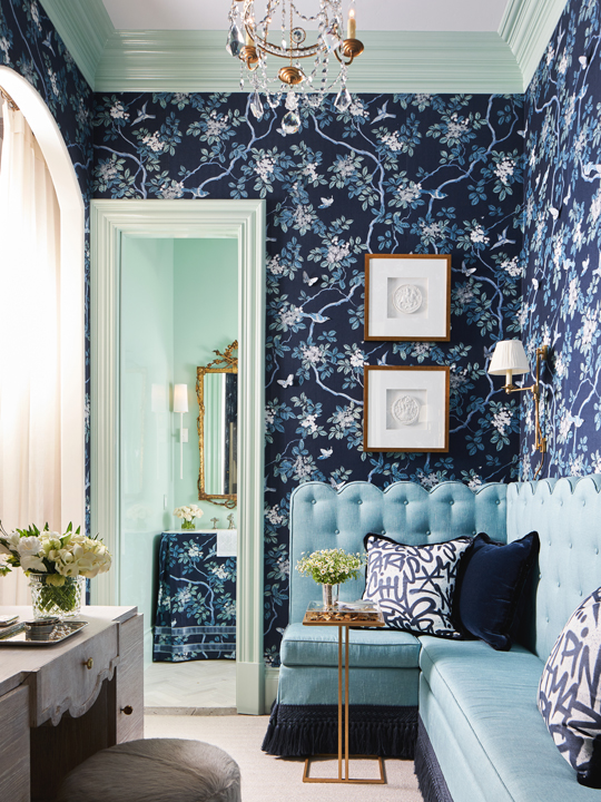 "Blue powder room and ""gossip room"" by Traci Zeller at the 2020 Kips Bay Dallas showhouse"