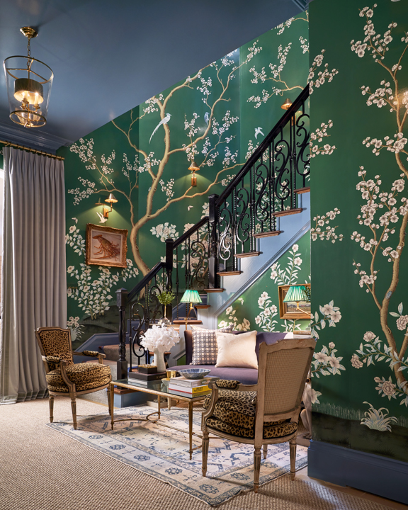 Back staircase and landing with De Gournay wallpaper by M Interiors at the 2020 Kips Bay Dallas showhouse