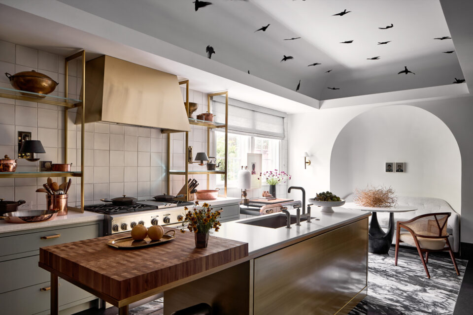 Kitchen by Chad Dorsey with painted ceiling and custom brass hood at the 2020 Kips Bay Dallas showhouse