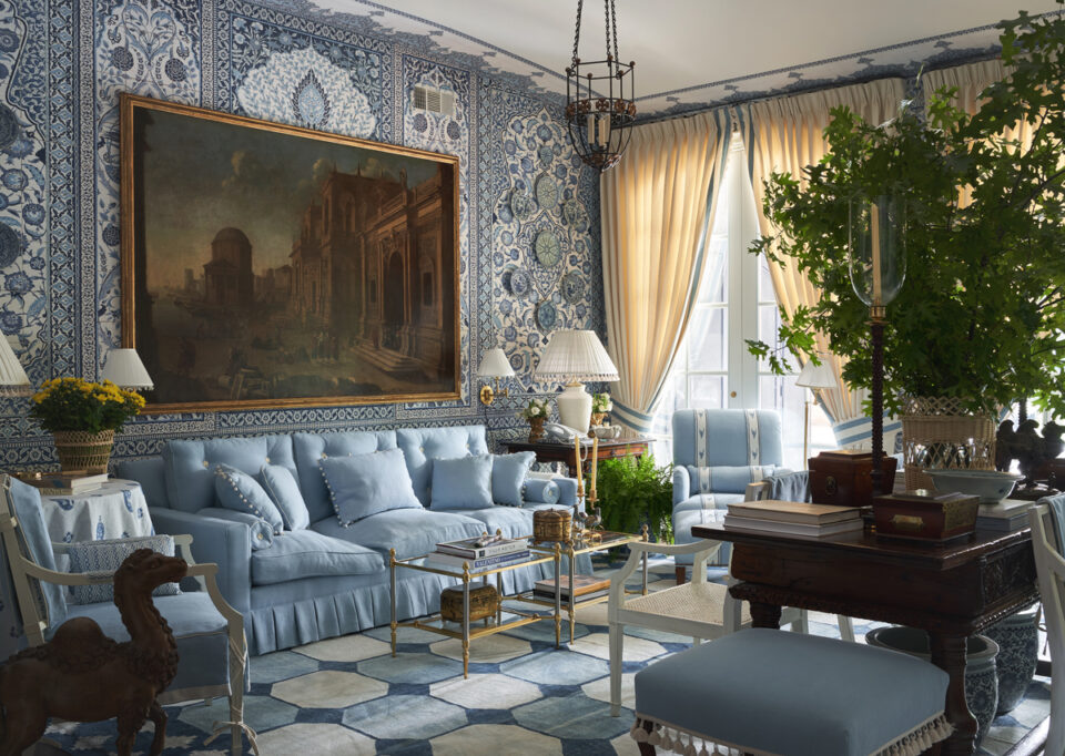 Moroccan-inspired blue living room by Mark D. Sikes at the 2020 Kips Bay Dallas Showhouse