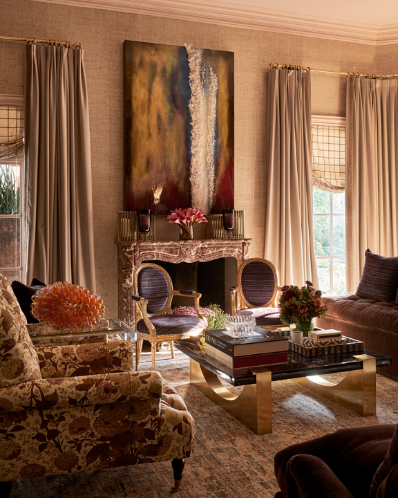 Master bedroom sitting area and fireplace by KirstenKelli at the 2020 Kips Bay Dallas showhouse