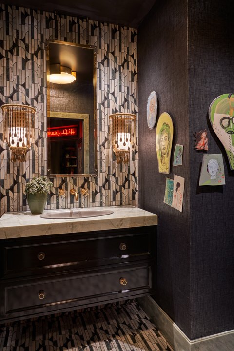 Bathroom with tile by Kelly Wearstler by Studio Thomas James at the 2020 Kips Bay Dallas Showhouse