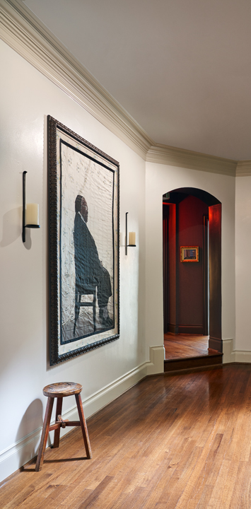 Upstairs landing art gallery by Liliana Bloch at the 2020 Kips Bay Dallas Showhouse