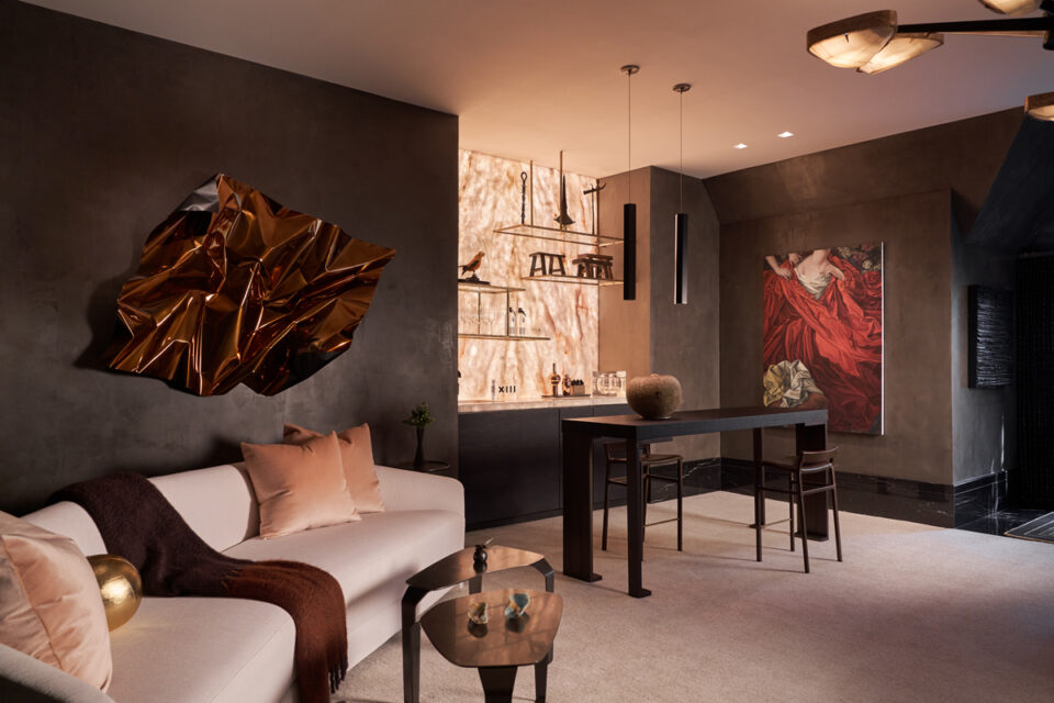 Upstairs living room, lounge and bar by Ten Plus Three at the 2020 Kips Bay Dallas Showhouse