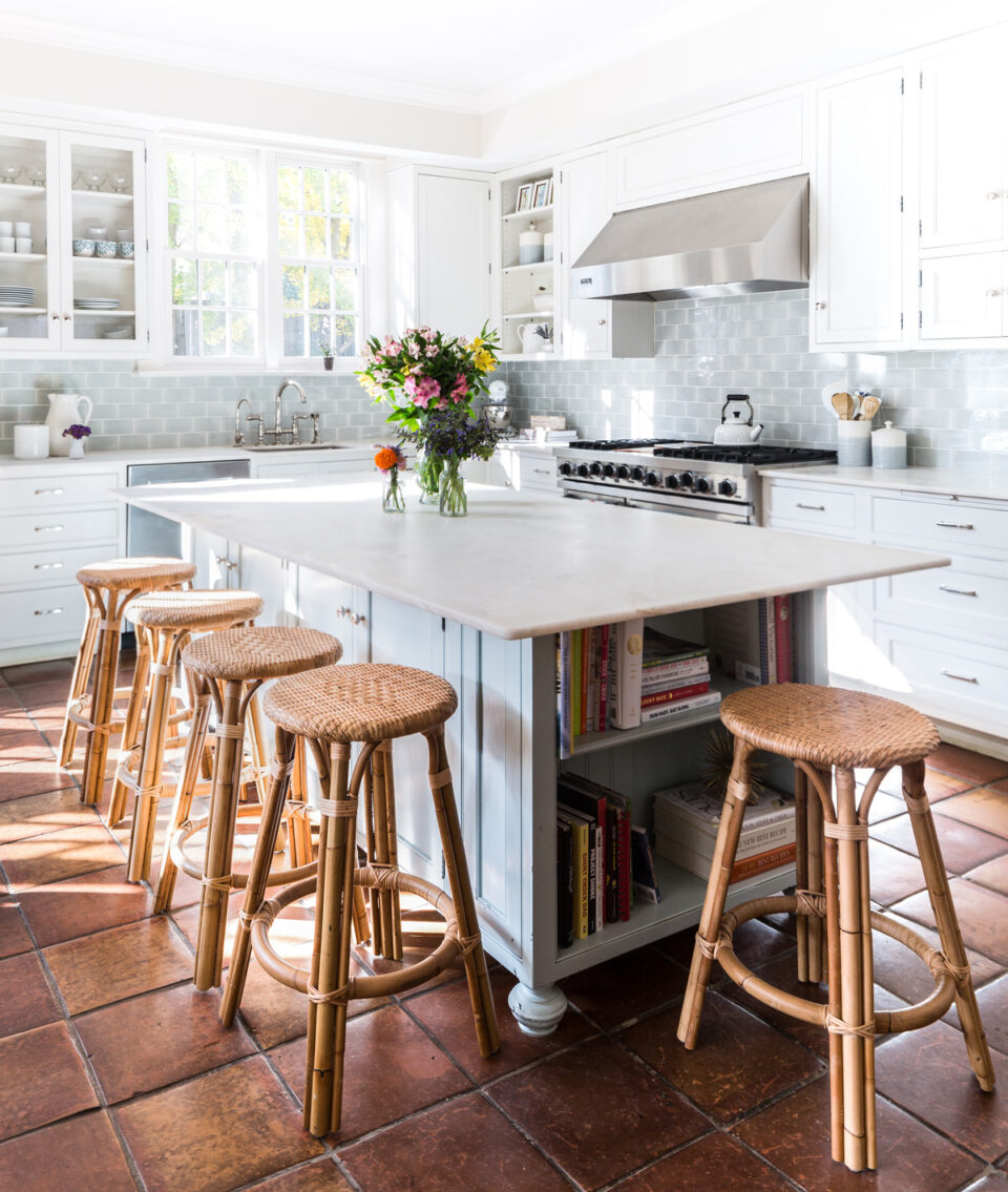 KItchen renovation with terracotta tile and Serena & Lily counter stools