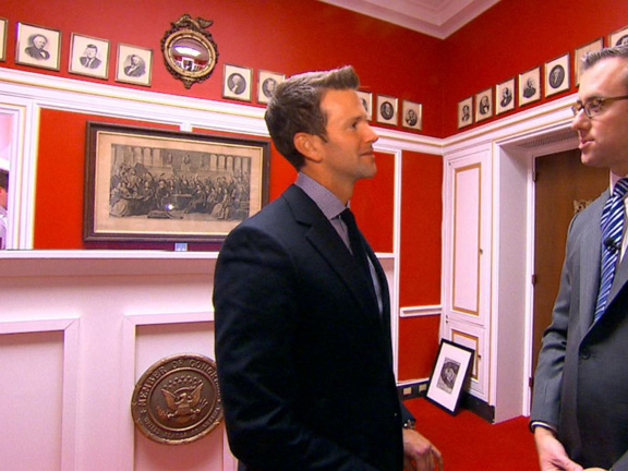 Here's Rep. Schock talking to ABC's Jeff Zeleny in the reception area of his new office in the Rayburn House Office Building. (photo from ABC)