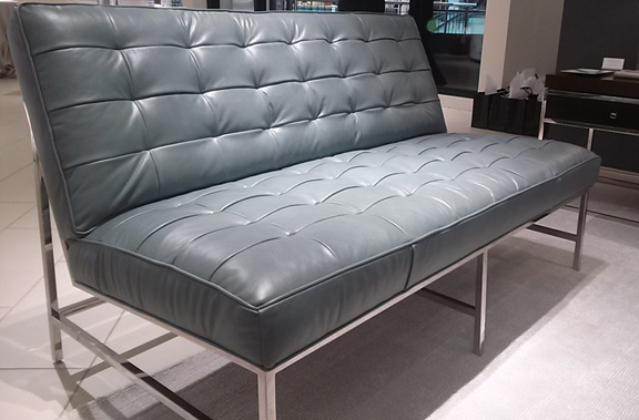 Loving the shiny chrome base on the Major love seat.