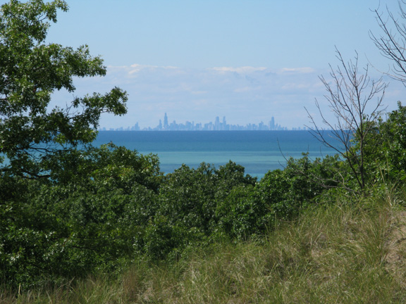 The Chicago skyline on this ultra-clear day from Mount Tom, the highest peak at the Indiana Dunes National Seashore, where we hiked and biked for two days.