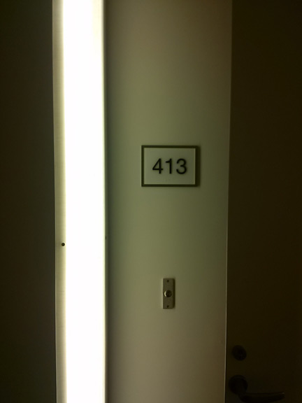 Each door is illuminated by a panel of light.