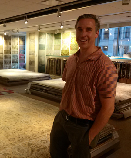 Kevin Fusting at Galleria Rugs -- this designer go-to will carry on in the new design center, in a lighter, brighter space.