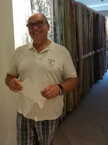 I caught David Herchik, one of the city's best designers, already shopping in the Hines showroom.