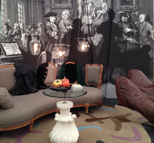 """""""The Levee,"""" by furniture designer Nigel Coates. According to the Decorex web site, """"The centrepiece of the installation was a beautiful and eclectic sofa reflecting the intimate tete a tetes at a Georgian society meeting of artists, musicians and thespians."""""""